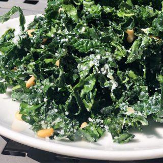 Another day, another yummy salad from Joe's Restaurant.  Lacinato Kale, golden raisins, lemon, pine nuts, Pecorino Romano & sea salt.  . . . . . . . . . . #kalesalad #joesrestaurant #italiancuisine #yummy #foodofinstagram #bainbridgeisland #pleasantbeachvillage #bainbridgeeats